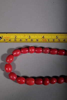 Art African Beads African Molten Glass Red
