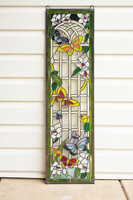 Handmade Stained Glass Panel dog vintage Wall Decor Handcraft
