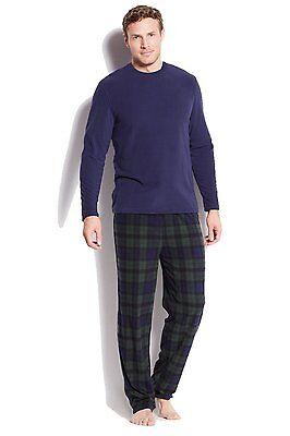 $95 CLUB ROOM Men's FLEECE PAJAMA SET Blue Green Plaid Shirt Pants SLEEPWEAR XL