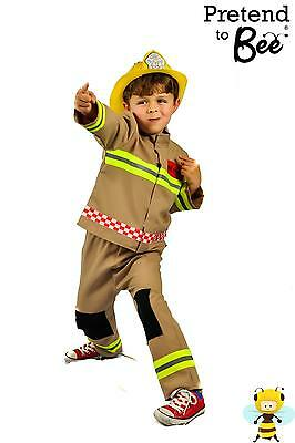 KIDS CHILDRENS CHILDS BOYS DELUXE FIREMAN COSTUME OUTFIT & HELMET AGE 3,4,5,6,7 - Boy Fireman Costume
