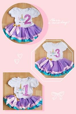 Baby Girl Violet Birthday Party Outfit Dress Unicorn 1year to 3 year old - 1 Year Old Birthday Party