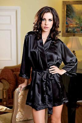 iCollection Satin 3/4 Sleeve Robe with Matching Sash - 7893