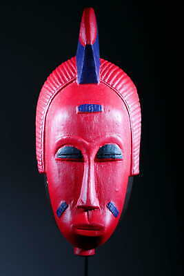 Art Contemporary African Mask Baoulé Red 134