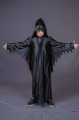 Sensenmann Kostüm Smiley Robe schwarz mit Kapuze Halloween Cape 121474/01G13