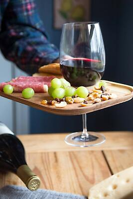 IRONWOOD GOURMET CANAPE TRAY SET OF 5 ARCACIA WOOD FOR WINE GLASS HORS D'OEUVRES
