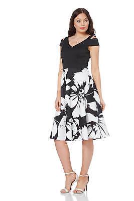 Roman Originals Women's Fit and Flare Floral Scuba Dress Sizes 10-20 (Roman Dress Women)