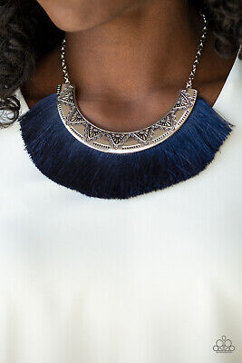 Paparazzi jewelry shiny blue thread silver half moon Necklace w/earring Silver Half Moon Necklace
