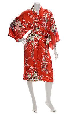 Japonés Seda Kimono Estampado Floral Corto Rojo