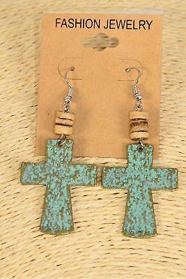 Patina metal cross dangle earrings - coconut shell mix - 1.75