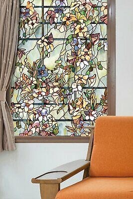 New 24x36 FLORAL TRELLIS Stained Glass Privacy Static Cling WINDOW FILM