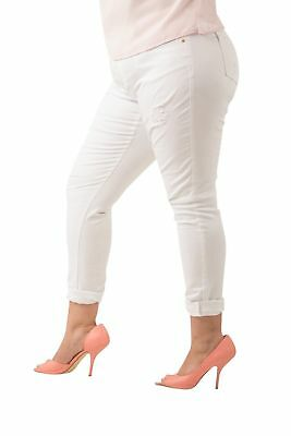 Poetic Justice Curvy Women's Plus Size White Stretch Light Destroyed Jeans 16R