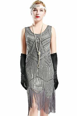 NWT BABEYOND Silver SEQUIN BEADED FRINGE Costume DECO Gatsby FLAPPER Dress L (Silver Flapper Dress Costume)