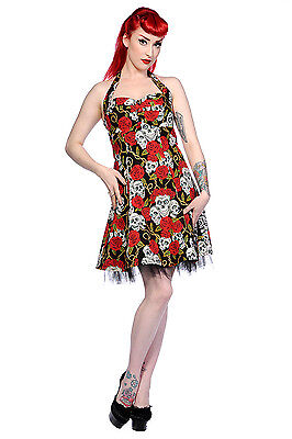 Lost Queen Rockabilly Red Rose & Skulls Party Tulle Mini Dress - Red Queen Dress