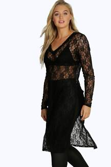 FREE SHIPPING! Long lace side split tunic - Stretchy plus size 18