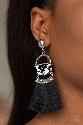 Paparazzi jewelry Tassel Trot Black Fringe Acrylic Hammered Silver Earrings New