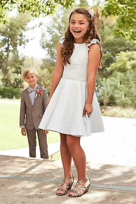 Girls David Charles Metallic Light Blue Dress Size 6 Brand New Gold Level