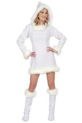White Dress Snow Queen Narnia Eskimo Girl Costume Christmas Hood Boot (Girls Snow Queen Kostüme)