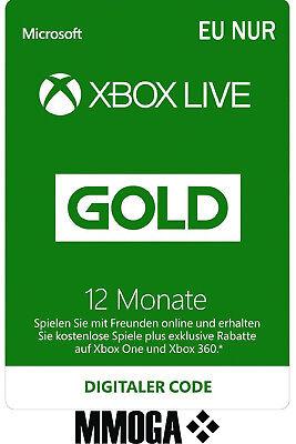Xbox Live Gold Mitgliedschaft Card 12 Monate f. Microsoft Xbox 360&One [EU KEY] (Xbox Live 12 Monat)