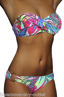 Twist Bikini Top (Push Up Twist Bikini Bunt Blumen Badeanzug Top Set Damen Gr. XS S M L 32-42 NEU)