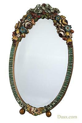 DUSX Barbola Floral Handpainted Oval Bevelled Decorative Table or Wall Mirror  3