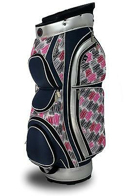 Ladies Vogue Designer Golf Cart Bag 15 Way Divider Stunning Blue Pink Pattern - Golf Cart Pink