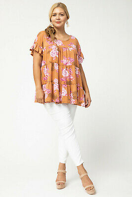 ENTRO Floral Print Tiered Ruffle Knit Top Plus Size Floral Print Ruffle Top
