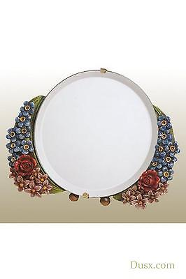 Barbola Floral Handpainted Round Table or Wall Bedroom Mirror 15 x 15cm