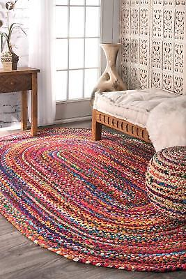 4x6 Natural Braided Oval Chindi Area Rag Rug Hardwood Floors Woven Fabric Rugs ()