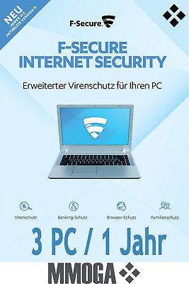 F-Secure Internet Security 2018 - 3 Geräte / 1 Jahr 3PC Vollversion Download Key