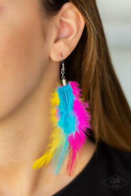 Yellow Feather Boa (Paparazzi jewelry Take a Boa Pink Blue Yellow Long Feather Plume Earrings)