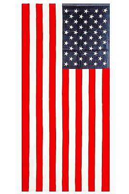 "American Flag ""Home of the Brave"" Print Beach Towel 100% Cotton 28""x59"""