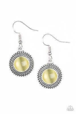 """PAPARAZZI JEWELRY """"TIME TO GLOW UP!"""" YELLOW MOONSTONE EARRINGS NEW RELEASE NWT"""