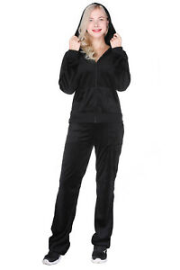Women's Velour Tracksuit Set 2 Piece Outfit Hoodie & Sweatpants Jogger Black