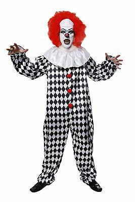 Herren Böser Clown Kostüm Zirkus Hell Halloween Overall & Perücke