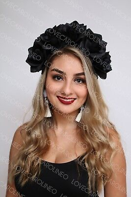 Black Rose Flower Crown Headband Floral Headpiece Halloween Day of the Dead - Black Flower Crown
