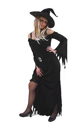 Schwarze Fee Kleid (Hexenkostüm Kostüm Hexe Fee schwarz Kleid + Hut Halloween Vampirin Zauberin K40)