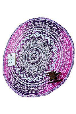 Round Picnic Beach Throw Blanket Home Decor Tapestry - Purpl