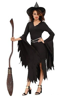NuoReel Womens All Black Gothic Witch Halloween Costume - Halloween Costumes All Black