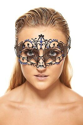 Pack of 5 Black Metal Foxy Masquerade Mask with Blue Rhinestones Party Favor](Pack Of Masquerade Masks)