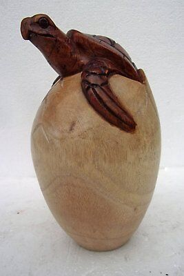 Unusual Giant Hand Carved Turtle in Egg Large Wooden Turtle hatching from Egg