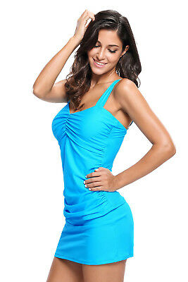 WOMEN SPECIAL Size S,M, XXL,XXXL  Blue Solid Ruched 2pc Tankini Skirted Swimsuit