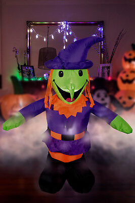 Giant Inflatable 4ft Witch Halloween Party Indoor Outdoor With LED+Fan