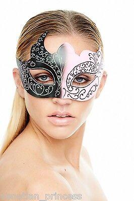 (Pink Black Venetian Mask Masquerade Laser Cut Mardi Gras Wedding Prom PM002BKPK)