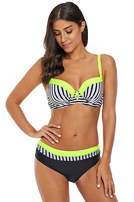 "Bikini / Short Set ""yellow stripe"" Gr. 44/46 (XL) CUP D/"