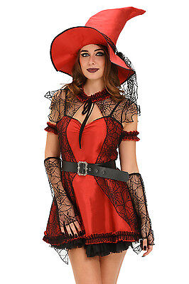 Womens Mischievous Witch Halloween Costume Red Design with Hat and Belt