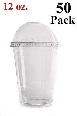 50 Set 12 Oz. Plastic Cups With Dome Lids For Iced Coffee Milkshakes Smoothies