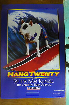 "1986 Spuds Mackenzie Dog Surfing Party Animal Beer Poster - 20 x 28"" Bud Light"
