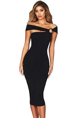 US Women Sexy Burgundy Elegant Off Shoulder Bodycon Midi Party Cocktail Dress