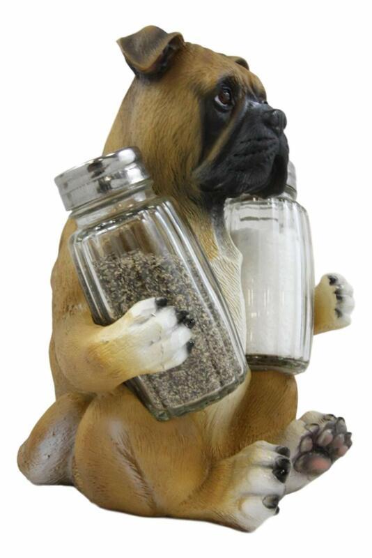 "6.5"" Height Sitting Boxer Dog Decorative Glass Salt Pepper Shakers Holder Gift"