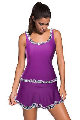- Women Solid Tankini Swimsuit Tank with Ruffle Trim Swim Skirt 2 Piece Skort Set